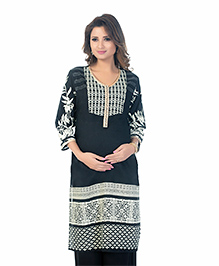 Kriti Three Fourth Sleeves Woven Maternity Nursing Kurta - Black