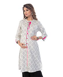 Kriti Three Fourth Sleeves Maternity Nursing Kurta Floral Print - Off White