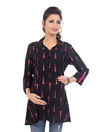 Kriti Three Fourth Sleeves Maternity Nursing Tunic Top - Black