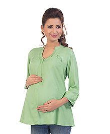 Kriti Three Fourth Sleeves Maternity Nursing Tunic Top - Green