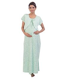 Kriti Short Sleeves Maternity Nursing Nighty Printed - Green