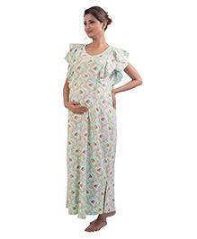 Kriti Short Sleeves Maternity Nursing Nighty Floral Print - Aqua Green