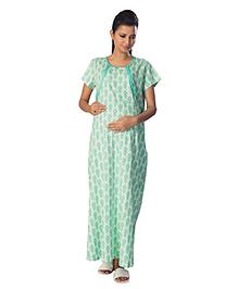 Kriti Half Sleeves Maternity Nighty Dots Print - Green