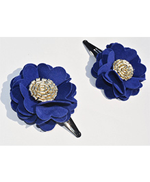 Little Tresses Scalloped Flower Snap Clip Set Of 2 - Blue