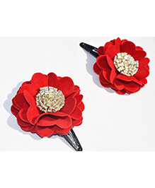 Little Tresses Scalloped Flower Snap Clip Set Of 2 - Red