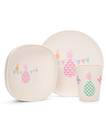 Penny Scallan Pineapple Bunting Bamboo Meal Set - Pink