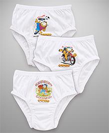 Mustang Briefs Garfield Print Pack of 3 - White