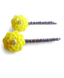 Soulfulsaai Set Of 2 Flower & Stones Hair Pins - Yellow