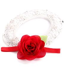 Akinos Kids Elegant Soft Rose Flower Infant Headband - Red