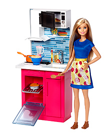 Barbie Doll And Kitchen Playset Blue - 28 Cm
