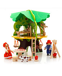 Emob Kids Amazing DIY Wooden 3D Puzzle Tree Doll House Toys With Furniture And Miniature Dolls - Multicolor