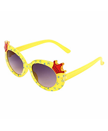 Miss Diva Double Crown Design Sunglasses - Yellow