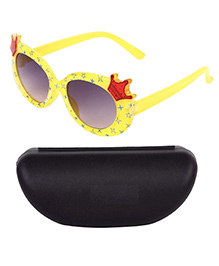 Miss Diva Double Crown Design Sunglasses With Case - Yellow