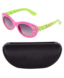 Miss Diva Double Flower Smart Sunglasses With Case - Pink & Green