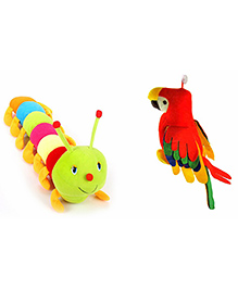 Deals India Parrot And Caterpillar Soft Toys Set Of 2 - Multicolor