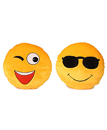 Deals India Soft Cool Dude Smiley And Wink Smiley Cushion Set Of 2 - Yellow