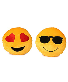 Deals India Heart Eyes & Cool Dude Smiley Cushion Yellow Pack POf 2 - 35 Cm