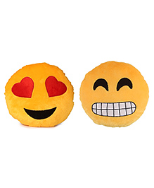 Deals India Heart Eyes And Grinning Face With Smiling Eyes Smiley Cushion Set Of 2 - Yellow