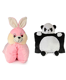 Deals India Folding Bunny And Panda Pillow Set Of 2 - Black White Pink