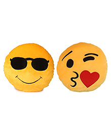 Deals India Cool Dude And Laughing Tears Smiley Cushion Set Of 2 - Yellow