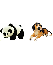 Deals India Panda And Black Puppy Soft Toy Combo - Brown Black White