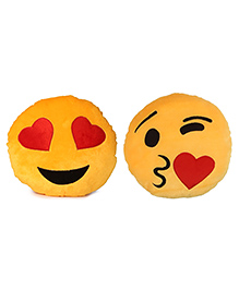 Deals India Heart Eyes And Face Throwing A Kiss Smiley Cushion Set Of 2 - Yellow
