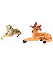 Deals India Tiger And Deer Soft Toy Combo - Brown