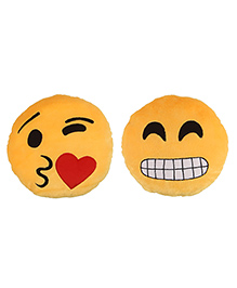 Deals India Face Throwing A Kiss And Grinning Face With Smiling Eyes Smiley Cushion Set Of 2 - Yellow