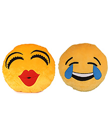 Deals India Kiss And Face Laughing Tears Smiley Cushion Set Of 2 - Yellow