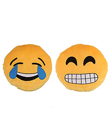 Deals India Grinning Face With Smiling Eyes And Laughing Tears Smiley Cushion Set Of 2 - Yellow