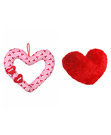Deals India Love Ring Heart Cushion Pack Of 2 Red Pink - 30 Cm