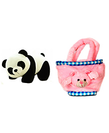 Deals India Panda Soft Toy And Teddy Bag - Multi Color