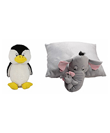 Deals India Penguin Soft Toy And Elephant Pillow - Multi Color