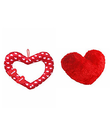 Deals India Heart Cushion Pack Of 3 Red - 30 Cm