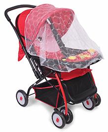 Baby Stroller Cum Pram Dotted & Animal Face Print - Black Red