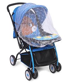 Baby Stroller Cum Pram Dotted & Animal Face Print - Black Blue