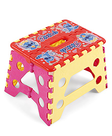 Folding Step Stool - Red Pink Yellow