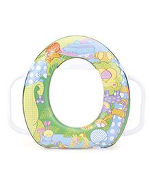 Babyhug Soft Potty Seat With Handle Animal Print - Green