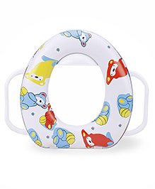 Babyhug Soft Potty Seat With Handle Cartoon Print - White Blue Yellow