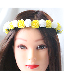 Tia Hair Accessories Rose Applique Party Hairband - White And Yellow