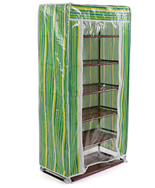 6 Shelves Storage Rack With Cover - Green - 1489893