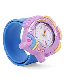 Analog Wrist Watch Fish Shape Dial - Blue Purple