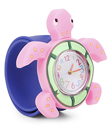 Analog Wrist Watch Tortoise Shape Dial - Pink Blue