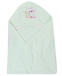 Simply Hooded Wrappers Kitty Embroidery - Green