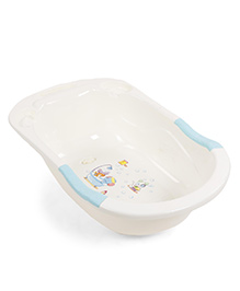 Baby Bath Tub With Animal Print - Cream Aqua Green