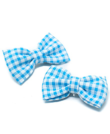 Pigtails And Ponys Gingham Print Bow Clips Set Of 2 - Blue