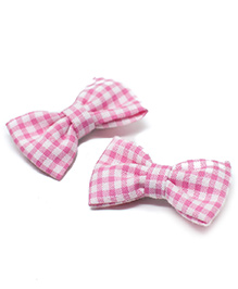 Pigtails And Ponys Gingham Print Bow Clips Set Of 2 - Pink