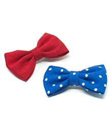 Pigtails And Ponys Sailor Moon Print Bow Clips Set Of 2 - Red And Blue