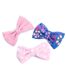 Pigtails And Ponys Pastel Bow Clips Set Of 3 - Pink & Blue