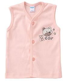 Tango Sleeveless Vest Baby Bear Print - Light Peach